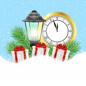 Clock, lantern and gifts with the branches of fir-tree on to sno — Stock Vector