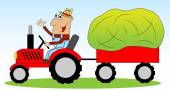 Mannen är en bonde på en traktor driven hö till djuren — Stockvektor