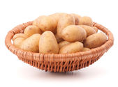 Potato tubers in wicker basket — Stock Photo