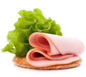 Sandwich with pork ham and lettuce — Stock Photo