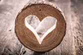 Heart hole in wood — Stock fotografie