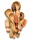 Carving wooden spoons — Stock Photo