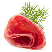 Salami sausage slices and dill — Foto Stock