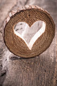 Heart hole in wood — Stock Photo