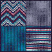 Seamless Knitted Pattern. Set — Stock Vector