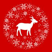 Winter Christmas Round Wreath with Snowflakes and Goat. Red and — Stock Vector