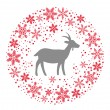 Winter Christmas Round Wreath with Snowflakes and Goat. Red Grey — Stock Vector #58004999