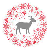 Winter Christmas Round Wreath with Snowflakes and Goat. Red Grey — Stock Vector