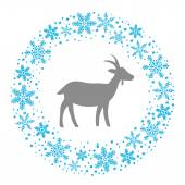 Winter Christmas Round Wreath with Snowflakes and Goat. Blue Gre — Vettoriale Stock