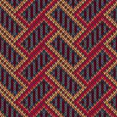 Vector Needlework Background, Red Orange Brown Ornamental Knitte — Stock Vector