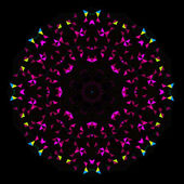 Abstract Geometric Bright Kaleidoscope Pattern. Circle Symmetric Design. Round Flower Ornament — Stock Vector