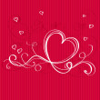 Red Background with Heart White Ribbon. Valentine  day card des — Stockvector  #58010075