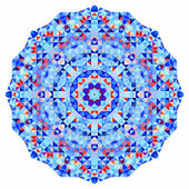 Abstract colorful circle backdrop. Mosaic round banner of blue violet red orange yellow white color geometric shapes — Zdjęcie stockowe