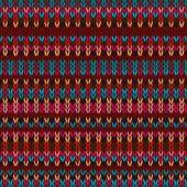 Seamless Ethnic Geometric Knitted Pattern. Style Red Blue Orange Brown Yellow Background — Vettoriale Stock