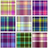 Set of Seamless Checkered Vector Plaid Pattern — Stock Vector