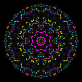 Abstract Geometric Bright Kaleidoscope Pattern. Circle Symmetric Design. Round Flower Ornament — Stockvektor