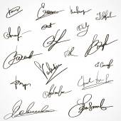 Signatures set. Group of imaginary autograph — Stock Vector