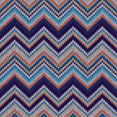 Seamless geometric spokes knitted pattern. Blue white orange bei — Cтоковый вектор