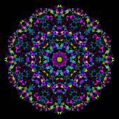 Abstraktní květina. kreativní barevné stylu vektor kolo. azurová purpurová žlutá černá dominantní barva — Stock vektor