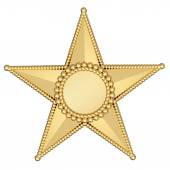 Gold star with blank plate isolated on white — Stock Photo