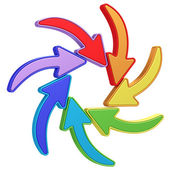 Colorful curved arrows pointing to center on white — Stock Photo
