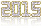 2015 digits composed of gems in golden rim on glossy white background — Stock Photo