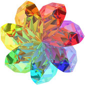 Flower shape composed of colorful gemstones isolated on white background — Stock Photo