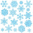 Set of light blue crystal snowflakes isolated on white — Foto Stock #60576557