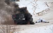 在火灾中的 Hanomag Sonderkraftfahrzeug 251 — 图库照片