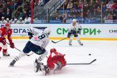 A. Kudinov (44) fall down on ice — Foto de Stock
