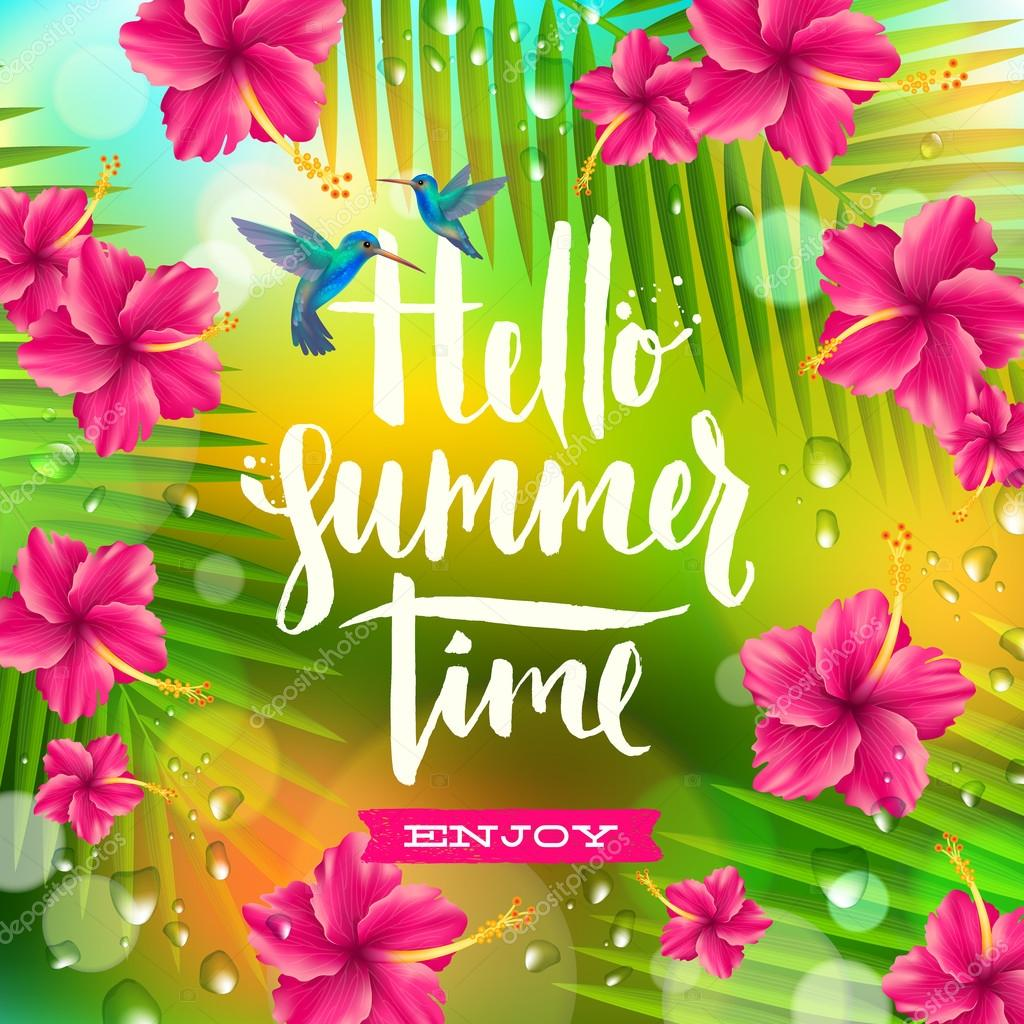 hello summer time hand drawn calligraphy summer palm victory palm vector freepik