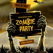 Halloween vector illustration - Dead Man's arms from the ground with invitation to zombie party — Vettoriale Stock  #52127487