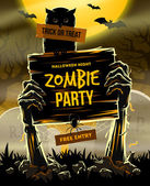 Halloween vector illustration - Dead Man's arms from the ground with invitation to zombie party — Stock Vector