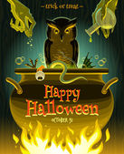 Halloween vector illustration - witch cooks poison potion in cauldron — Stock Vector
