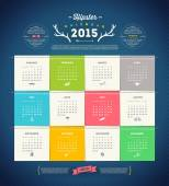 Vector template design - Calendar 2015 with paper page for months — Stock Vector