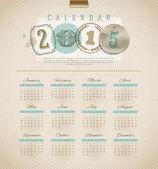 Vintage calendar 2015 - vector illustration — Stock Vector