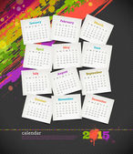 Vector illustration - calendar 2015 with grunge color blots — Stock Vector