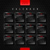 Vector template calendar 2015 - glass frames with month on a black hexagons background — Stock Vector