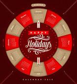 Vector calendar 2015 - Christmas holiday illustration — Stock Vector
