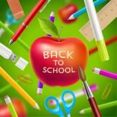 回到学校矢量图-红苹果与问候和文具 — 图库矢量图片