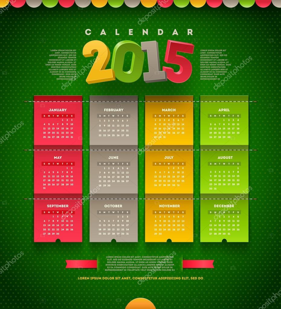 Vector template design - calendar of 2015 — Stock Vector © S-E-R-G ...