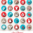 Vector set of Christmas flat icons with long shadows — Stock Vector #53145485