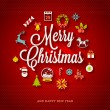 Christmas greeting vector design - holidays lettering and flat icons with long shadows — Stock Vector #53145607