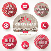 Set of round frames with Christmas greetings and flat icons with long shadows - vector illustration — Stock Vector