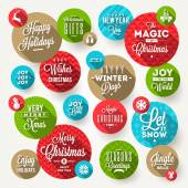 Vector set of round frames with Christmas greeting, phrases and flat icons with long shadow — Stok Vektör