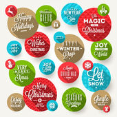 Vector set of round frames with Christmas greeting, phrases and flat icons with long shadow — Stock Vector