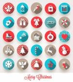 Vector set of Christmas flat icons with long shadows — Stock Vector