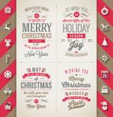 Set of Christmas type designs and flat icons with long shadow - vector holidays illustration — Stock Vector