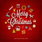 Christmas greeting vector design - holidays lettering and flat icons with long shadows — Stock Vector