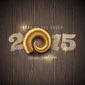New years greeting with golden horn of a sheep on a wooden surface - vector illustration — Vecteur